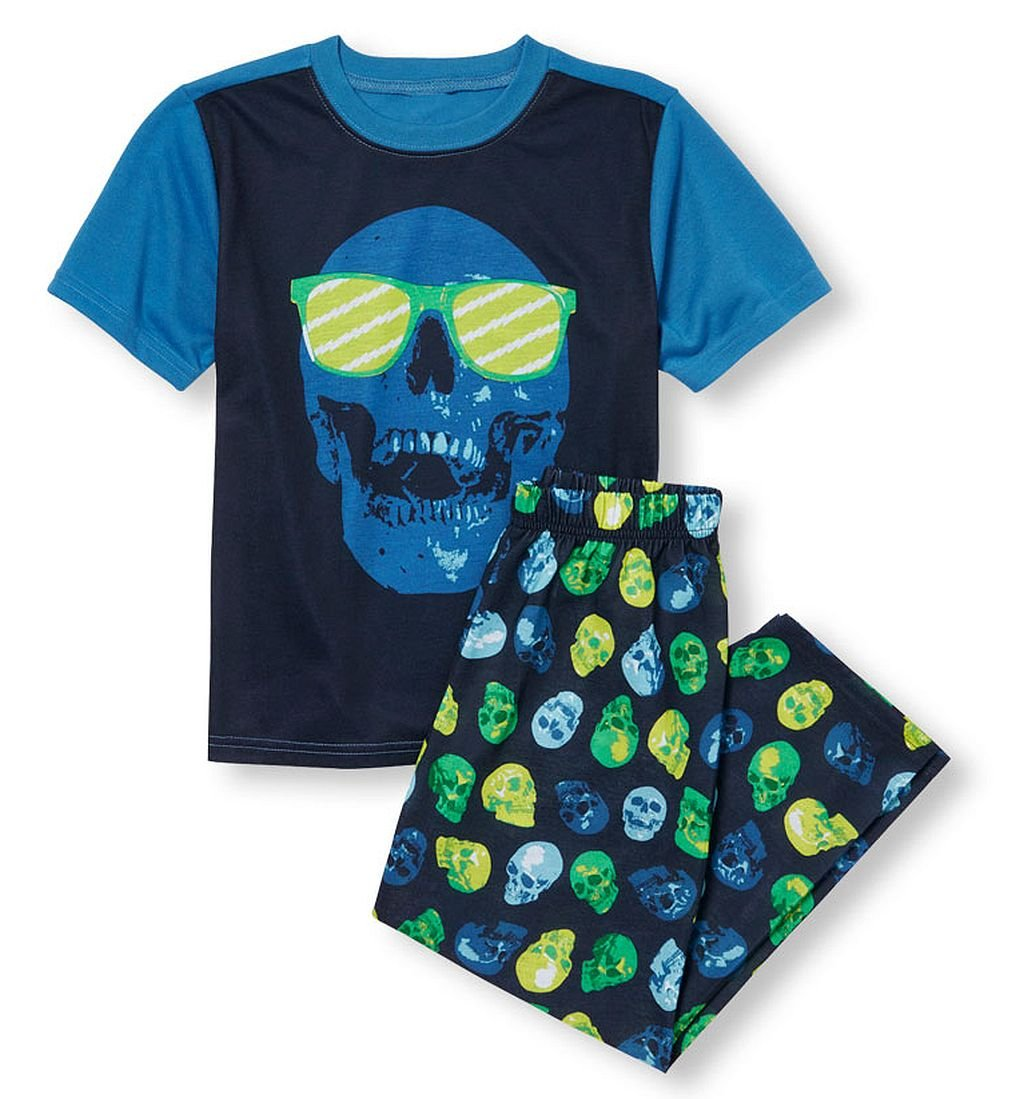Boy's Size 7/8 Halloween Skull Sunglass Skeleton Pajama Pants Set