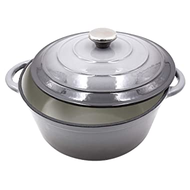 Enameled Cast Iron Dutch Oven - 5-Quart Grey Round Ceramic Coated Cookware French Oven with Self Basting Lid by AIDEA