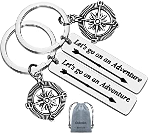 Let's Go On an Adventure Camper Keychain Traveling Gift Travel Keychain Adventure Keychain Gift for Men Women Teenager(2 Pack)
