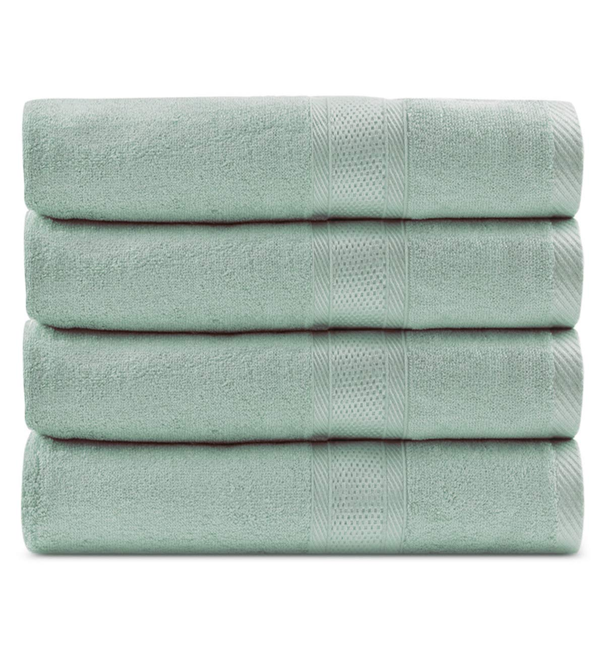 CC CAIHONG Luxury Bamboo Natural Large Bath Towel Set - Silky, Ultra Absorbent and Ultra Soft - (4 Pack 27 x 55 inch) - Green