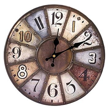 Winnian 30CM Reloj de Pared - Relojes de Pared Vintage de Madera- Reloj de Pared Silencioso - Marrón: Amazon.es: Hogar
