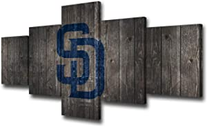 TUMOVO San Diego Padres Logo Picture Painting Prints on Canvas Baseball North American Major Sport Wall Art 5 /Multi Panel Artwork Home Decor for Living Room Wooden Framed Ready to Hang(50''Wx24''H)