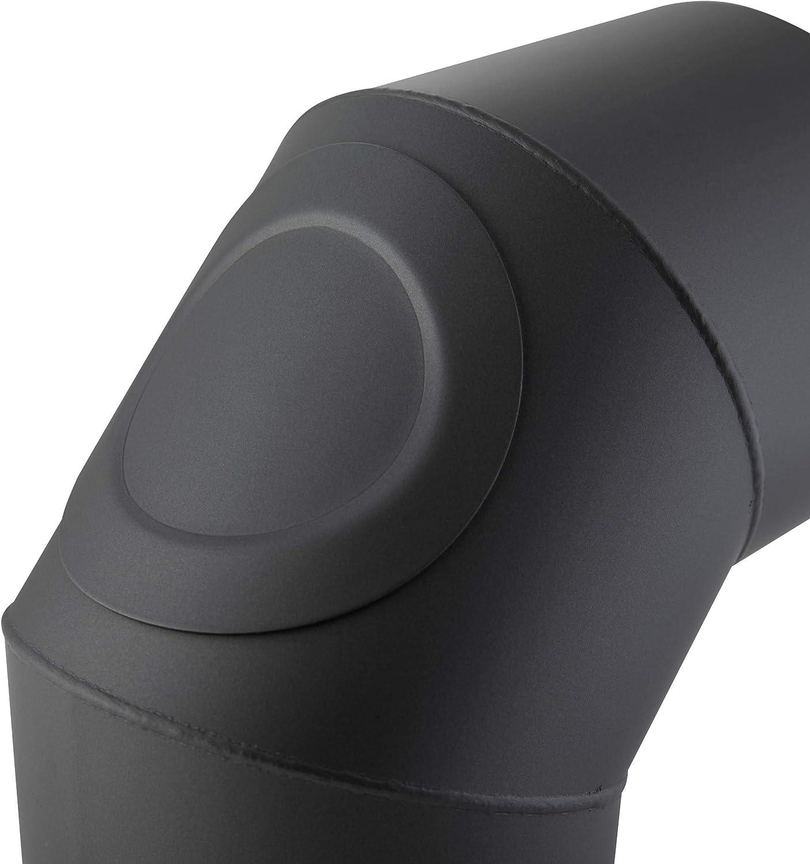 Codo vitrificado /Ø 110 mm///ángulo 90/°C resistente a altas temperaturas plata Codo con puerta para chimenea o estufa de le/ña Kamino Flam Codo de escape