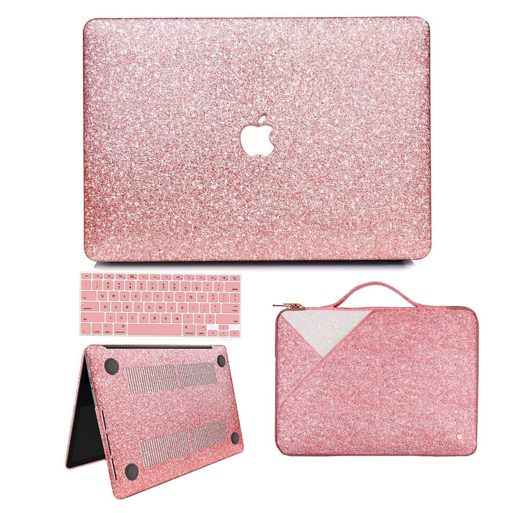 MacBook Pro 13 Case 2019 2018 2017 2016 Release A2159/A1989/A1706/A1708, Anban Glitter Bling Smooth Protective Case & Glitter Laptop Sleeve & Keyboard ...