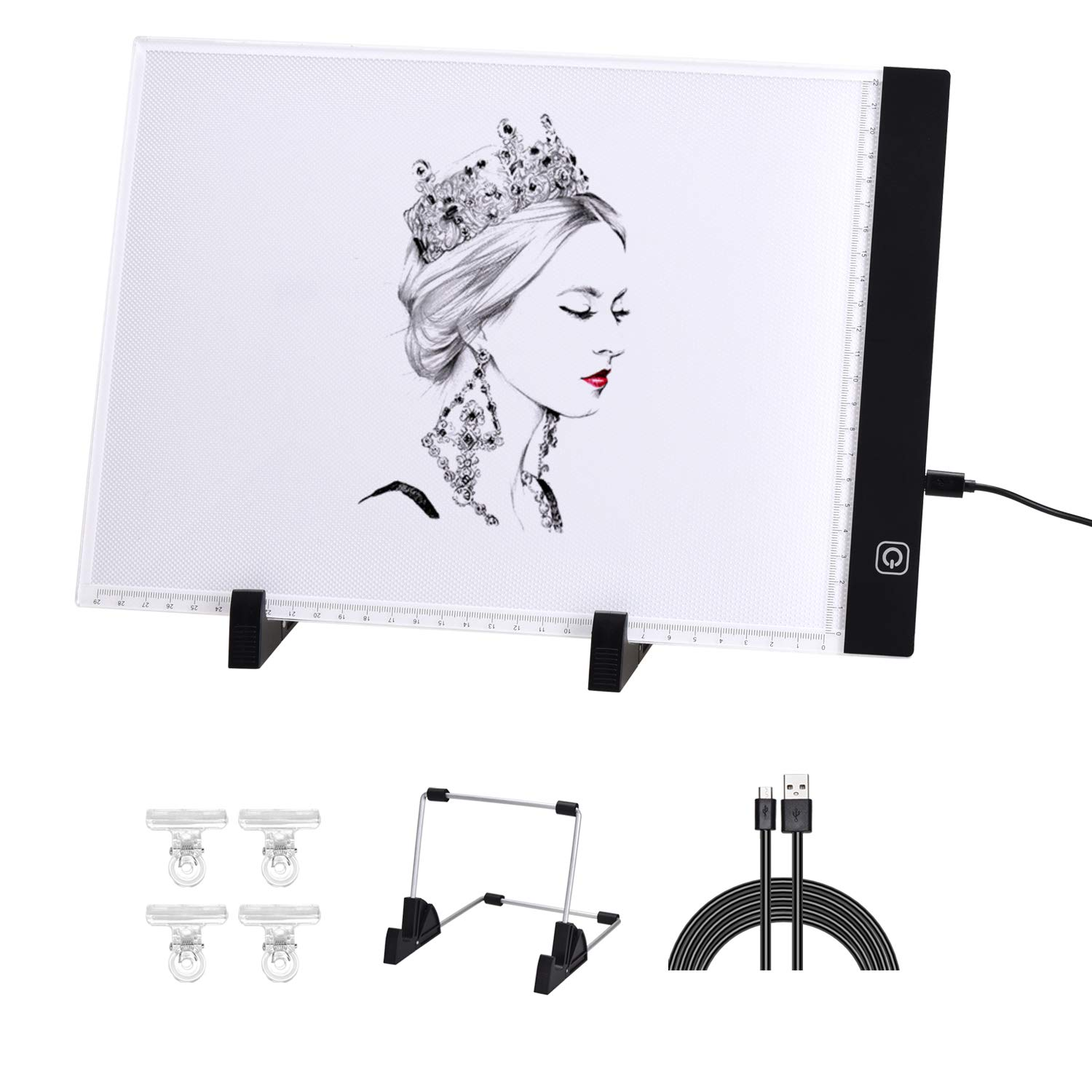 [3 in 1] Light Box for Tracing with Detachable Stand & Clips, Light up Tracing Pad for Diamond Painting, Water Color Paper, Slim Fabric by LinkBro