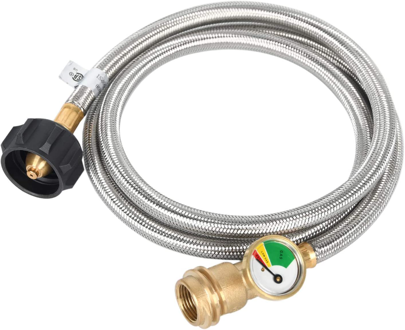 GGC 4 Ft Propane Gauge with Hose Adapter 1 lb to 20 lb Converter Replacement for QCC1 / Type1 Tank Connects 1 LB Bulk Portable Appliance (Stainless Steel Braided)