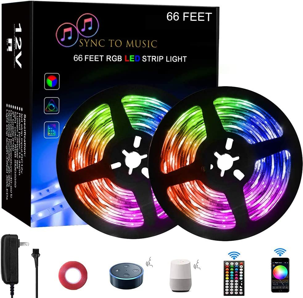 Tonnali 66ft LED Strip Lights for Bedroom Music Sync RGB Color Changing Strip Lights with 44 Keys Remote, Compatible with Alexa/Google Home, 2 Rolls of 33ft Led Strip Lights