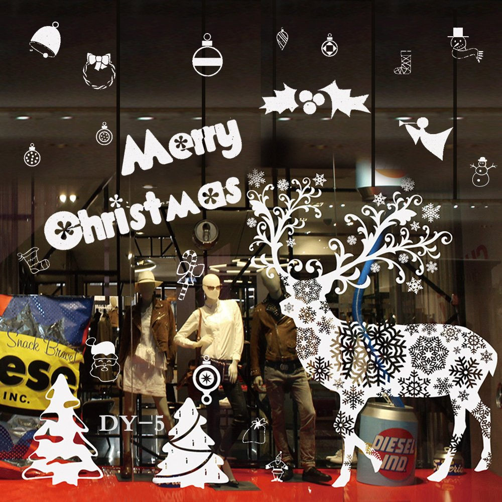 LOHOME Christmas Stickers Christmas Door Ornament Windows Decal Glass Wall Decals Stickers Decorations for Home Hotel Bar and Store/'s Display Window DY-5