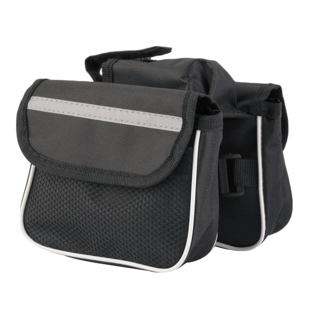 Sports Bicycle Cycling Pouch Frame Pannier Front Tube Cellphone Double Bag