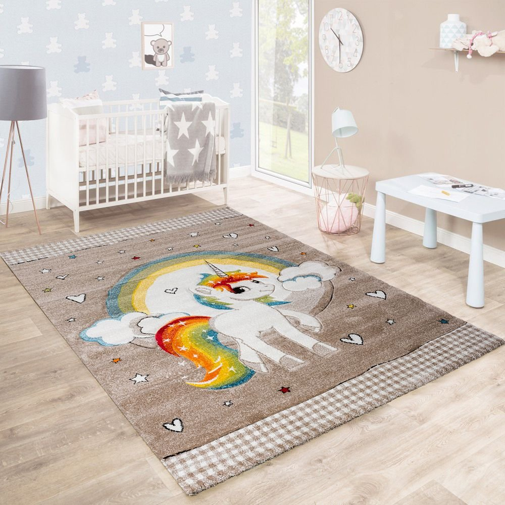 Paco Home Kinderteppich Kinderzimmer Herzen Regenbogen Einhorn Konturenschnitt Beige Weiß, Grösse:160x230 cm