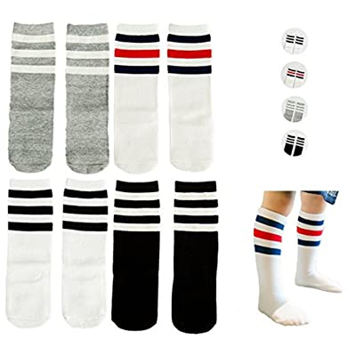 4 Pack Baby Girls Boys Cable Knit Knee High Uniform Knee High Socks with Stripes Tube Stockings