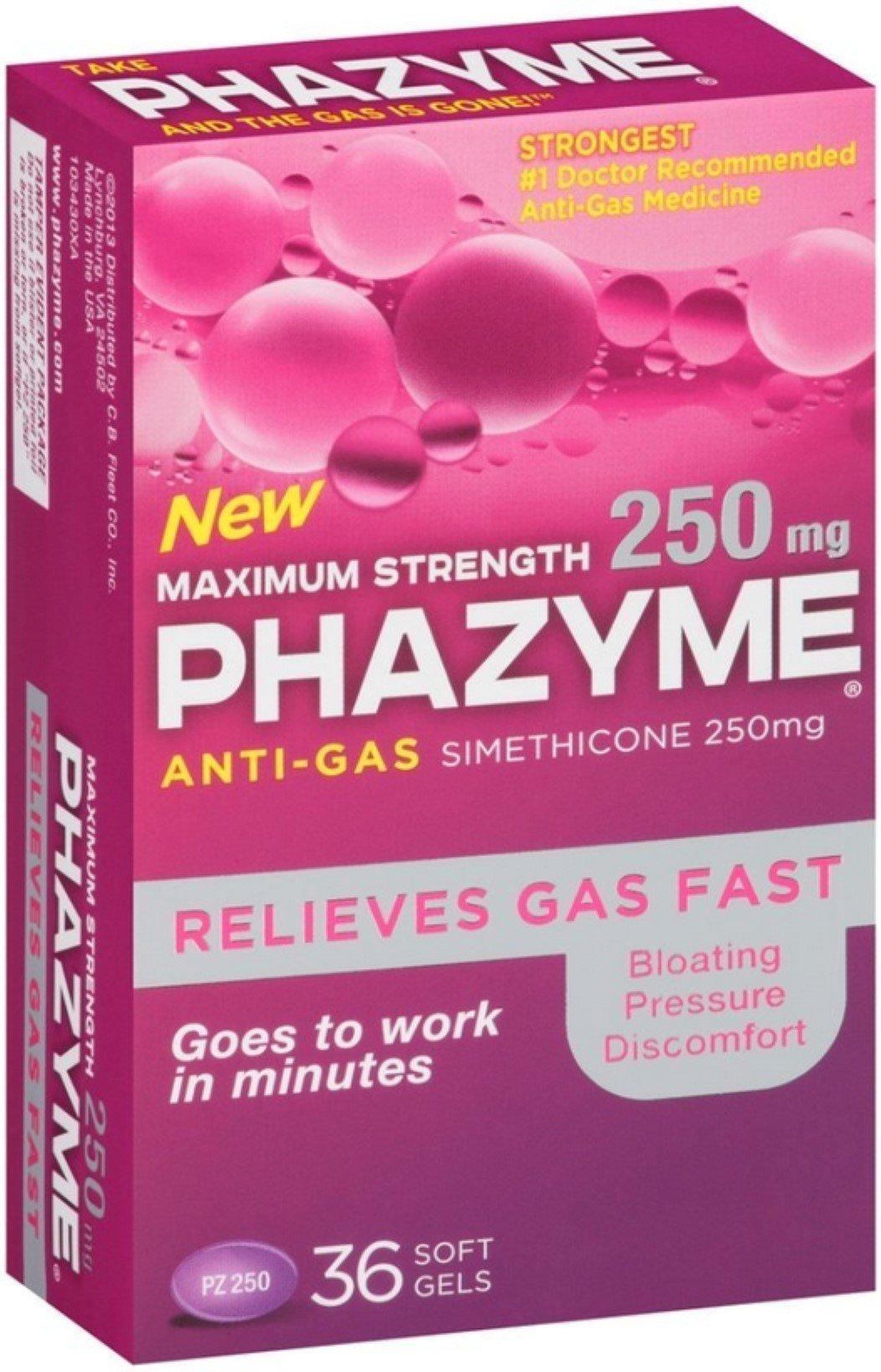 Phazyme Maximum Strength Softgels, 36 ea (Pack of 3)