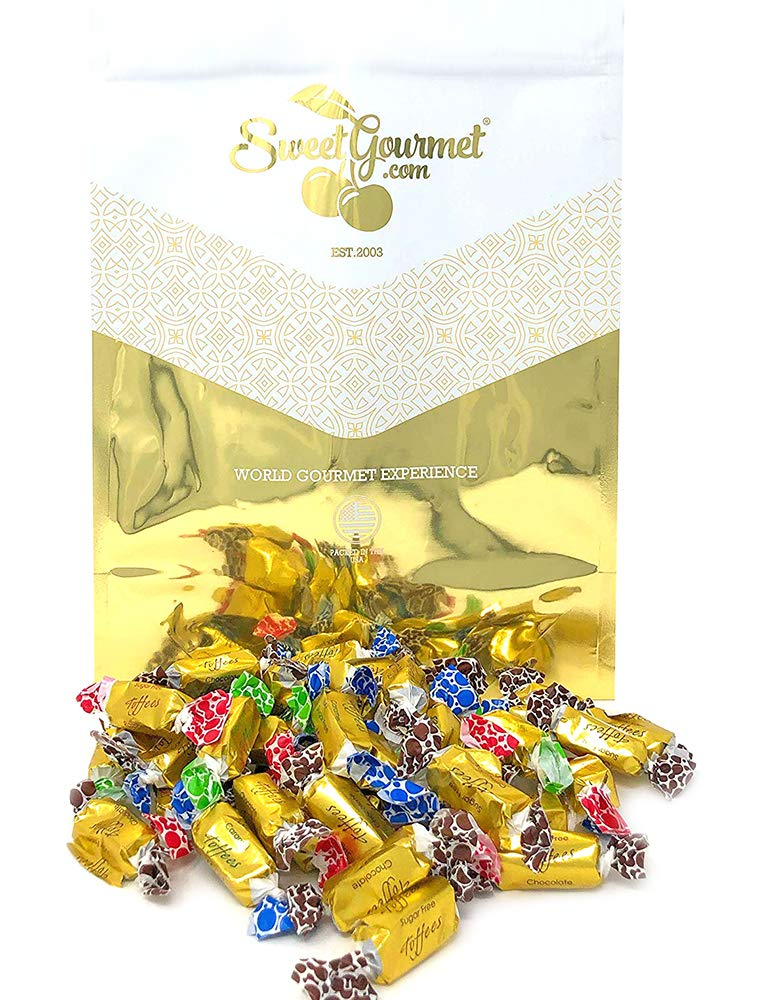 SweetGourmet Sugar Free Toffee Rolls | Chocolate, Caramel, Raspberry, Butter Rum | Kosher Gold Foil Wrapped | 4 Pounds by SweetGourmet