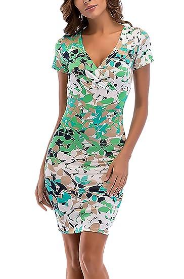 Targogo Vestidos De Fiesta Cortos Mujer Verano Elegantes Manga Corta V Cuello Estampado Flores Apretados Lápiz