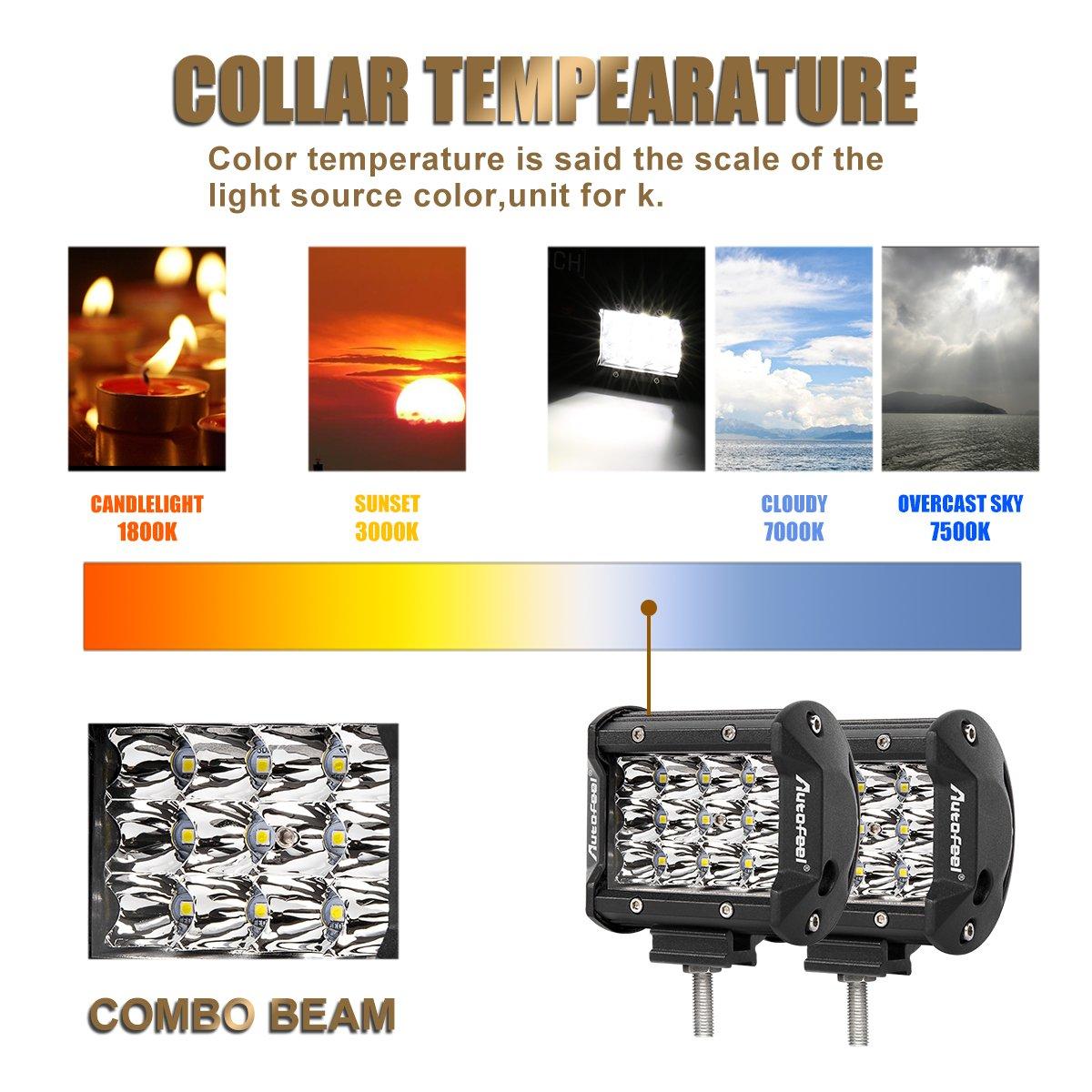1 years Warranty Autofeel llev/ó la barra ligera 2PCS 3 luces de la fila 18w 4 luces de la niebla de la pulgada Luces de conducci/ón de las luces del camino Luce de conducci/ón LED llevadas impermeables