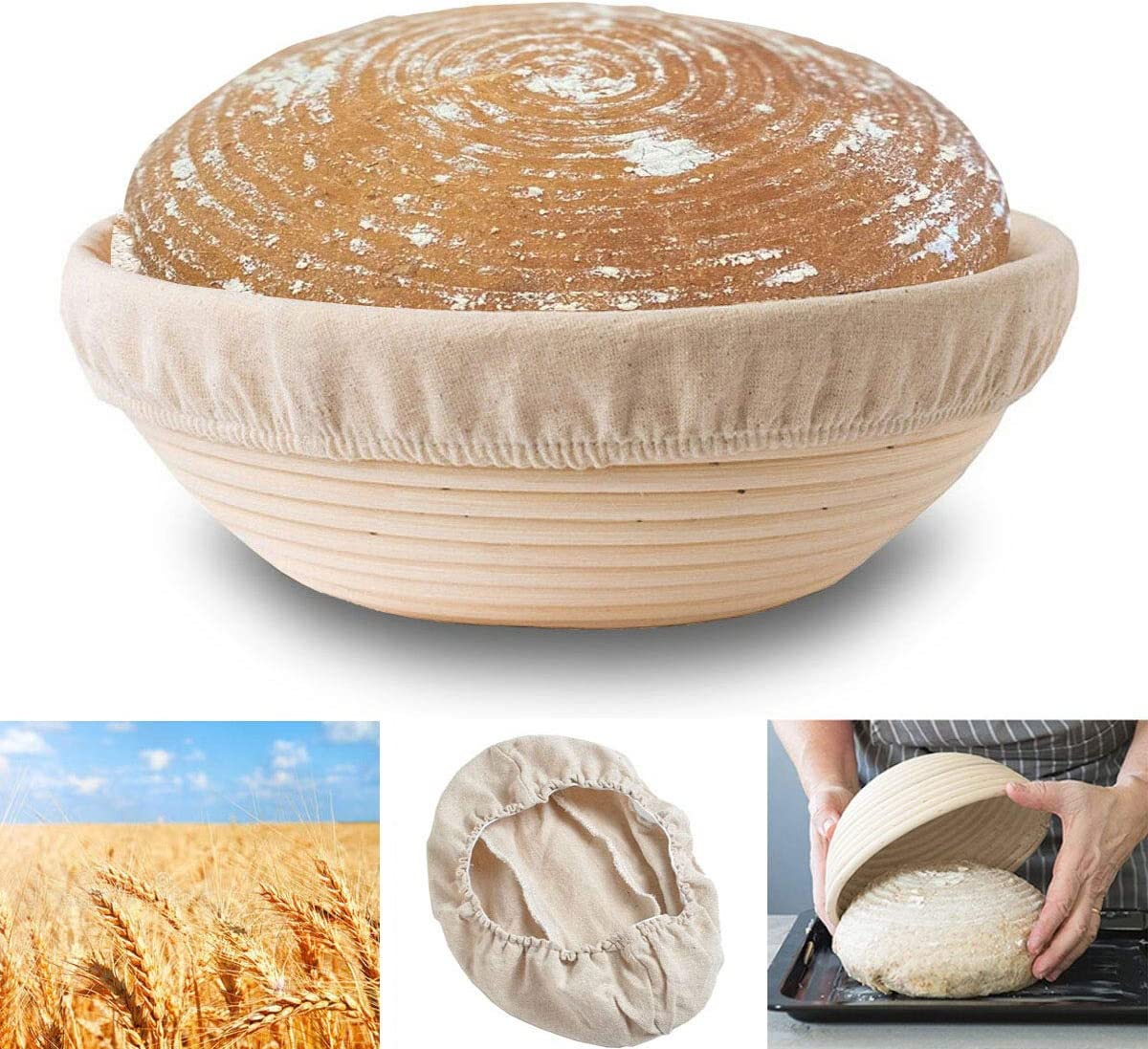 9-inch-Round 5 piece for Professional /& Home Bakers Binano Bread proofing basket Round or Oval basket+ Brush+Bread Knife+Dough Scraper+Linen Liner Cloth Proofing baskets for bread baking