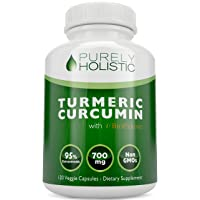Purely Holistic Turmeric Curcumin 120 Veg Caps with BioPerine, 700mg, 95% Curcuminoids