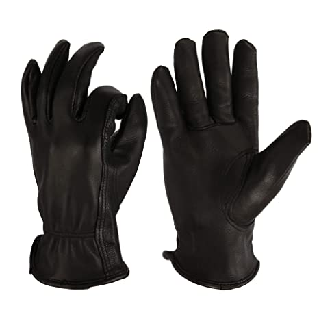 ad8c93283c1d7 OZERO Riding Gloves, Grain Deerskin Leather Work Gloves for Rubbing  Jewelry/Shooting/Hunting