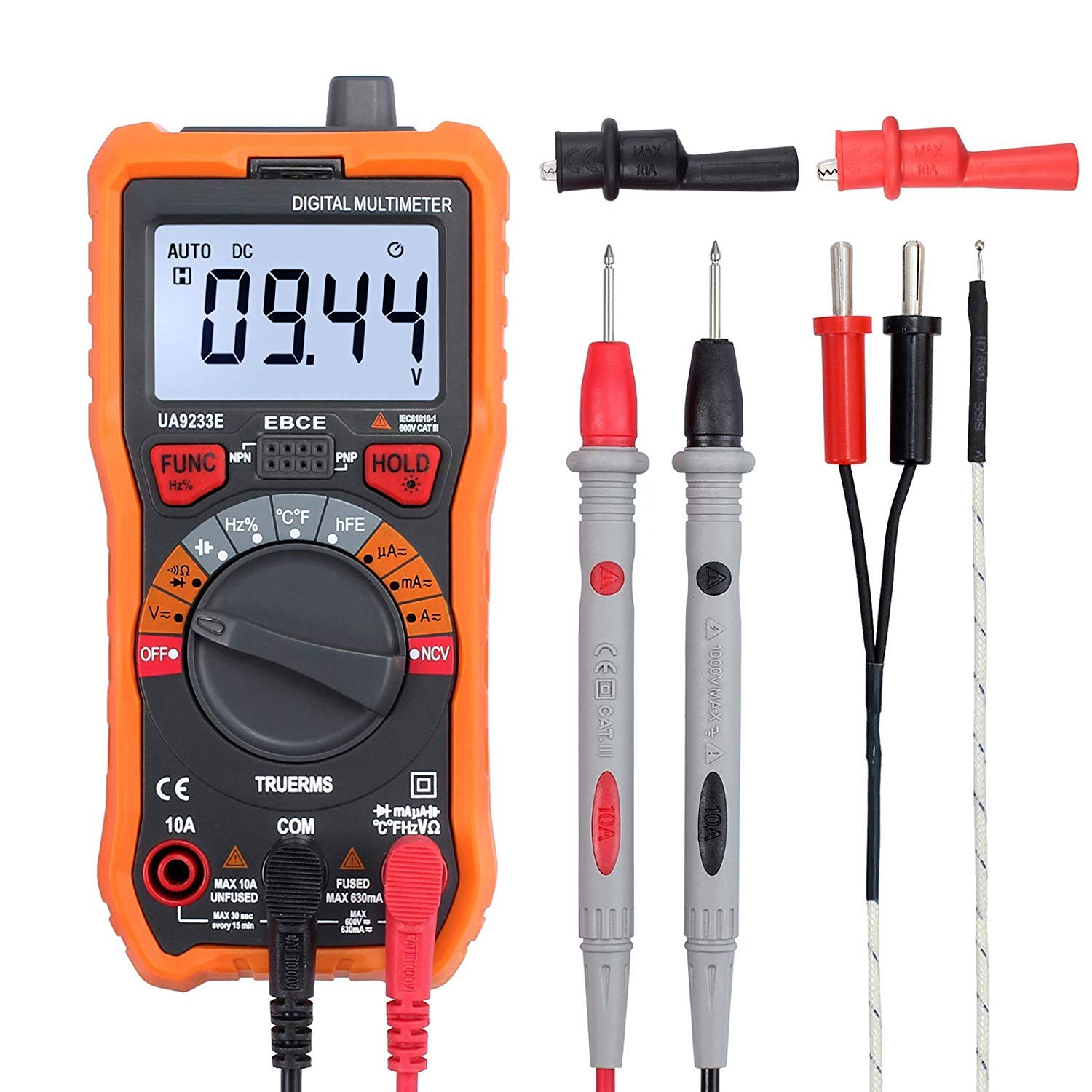 AUTOUTLET Digital Multimeter 6000 Counts True RMS Auto Ranging NCV AC/DC Voltage Current Resistance Temperature Backlit LCD Multi-Tester Probe & Alligator Clips