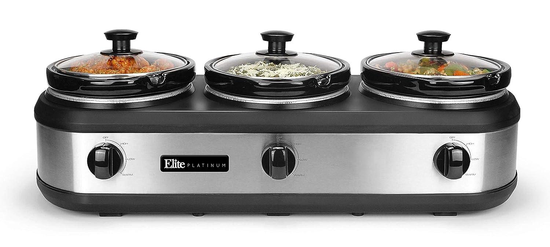 Elite Platinum EWMST-612 Triple Slow Cooker Buffet Server, Adjustable Temp Dishwasher-Safe Oval Ceramic Pots, Lid Rests, 3 x 2.5Qt Capacity 7.5 QT Stainless Steel