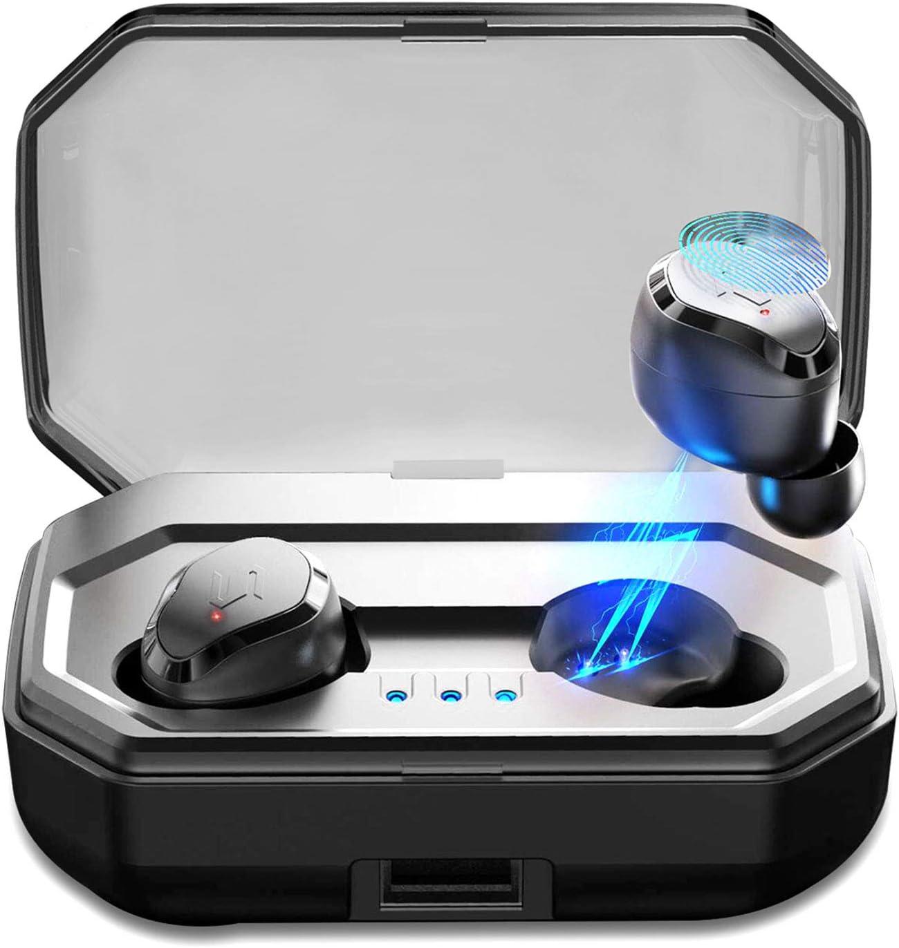 【Nuevo Versión】 Haronlo Auriculares Inalambricos Bluetooth 5.0, Auriculares Bluetooth Estéreo Hi-Fi Sonido IPX7 Resistentes al Agua, 90H Autonomía 3000mAh Estuche de Carga para iPhone y Android