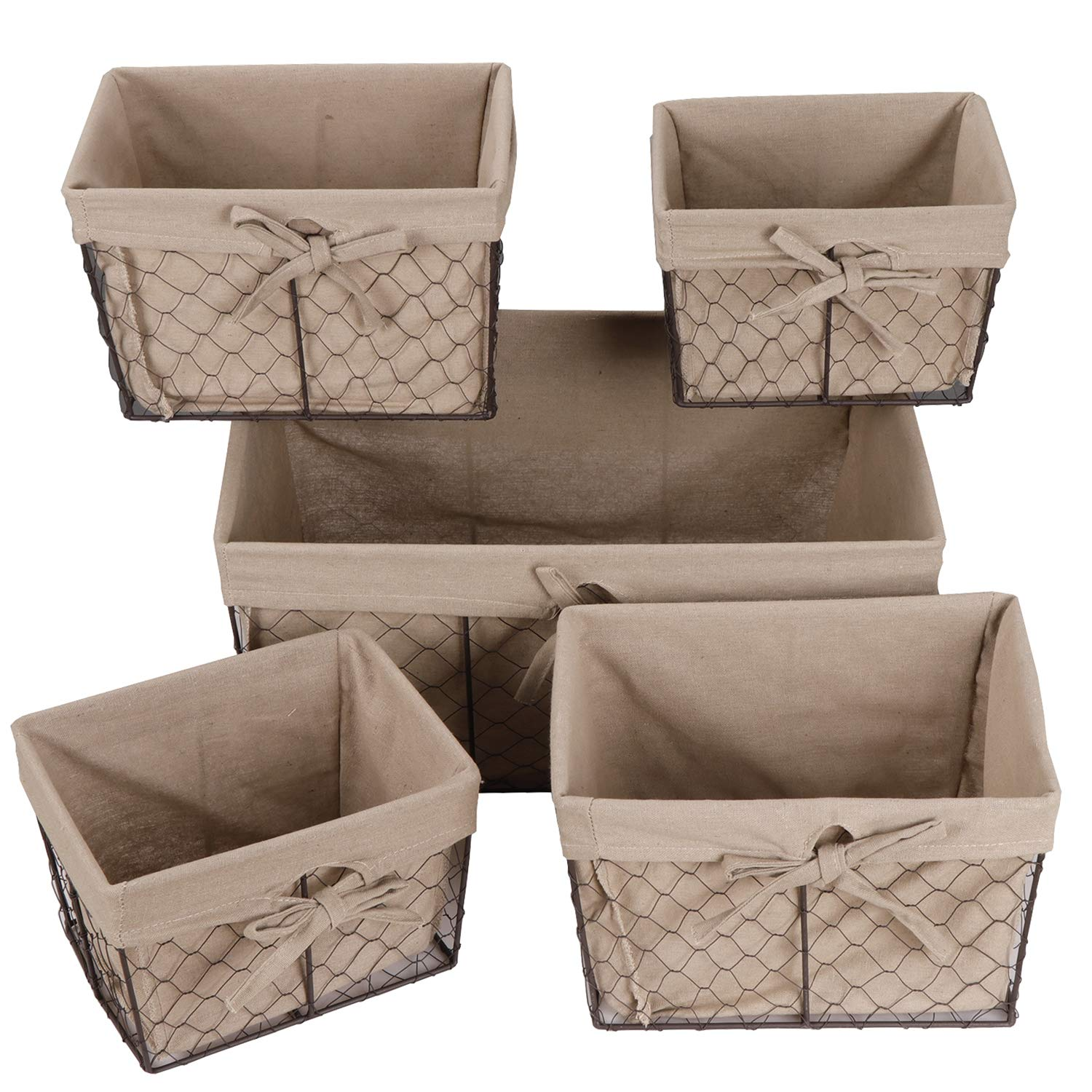 F2C Home Decor Set of 5 Vintage Toy Fruit Clothes Metal Chicken Wire Storage Basket Organizer W/Removable Fabric Liner for Bathroom Kitchen Office Nursery Laundry Bedroom Shelf by F2C (Image #7)