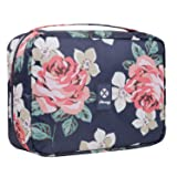 Hanging Travel Toiletry Bag Cosmetic Make up Organizer for Women and Girls Waterproof (Blue Peony)