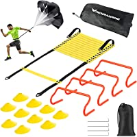 RENRANRING Agility Ladder Speed Training Equipment Set - Includes 20ft Agility Ladder, Resistance Parachute, 4 Agility…