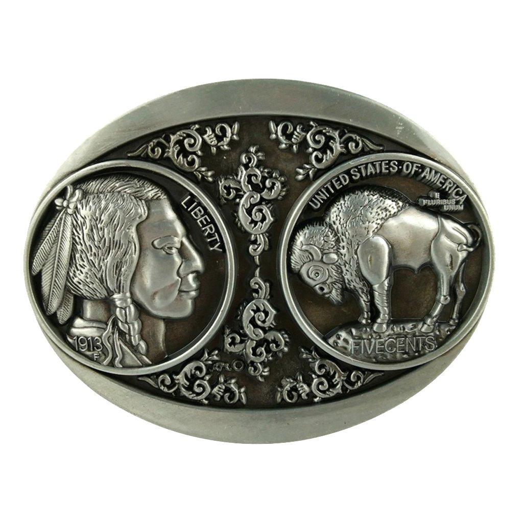 Baosity Vintage Zinc Alloy Indian Buffalo Belt Buckle 3D Coin American Western Cowboy Cowgirl