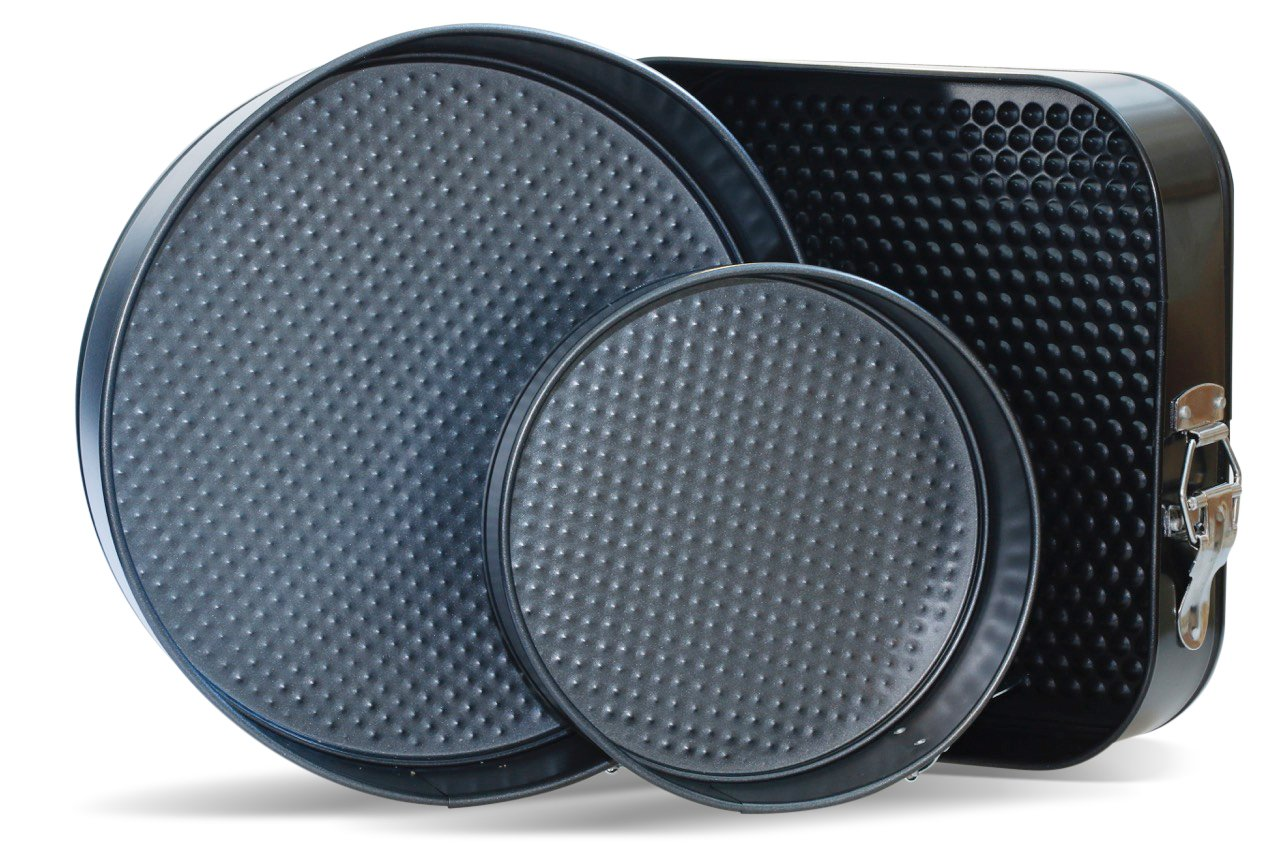 Springform Pans by CiE. Set of 3 – Round and Square, 7-9-10 Inch Cheesecake pan removable bottom. Leak Resistant Craftit Edibles SFP-03