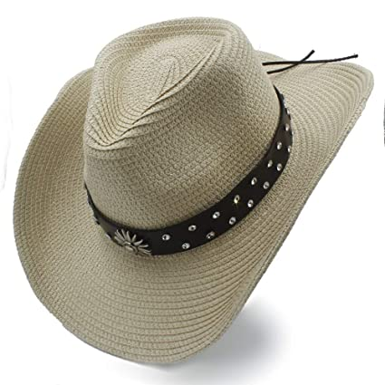 f3e2ba0163 YChoice Un magnífico Sombrero Sombrero Vaquero de Paja para Hombre ...
