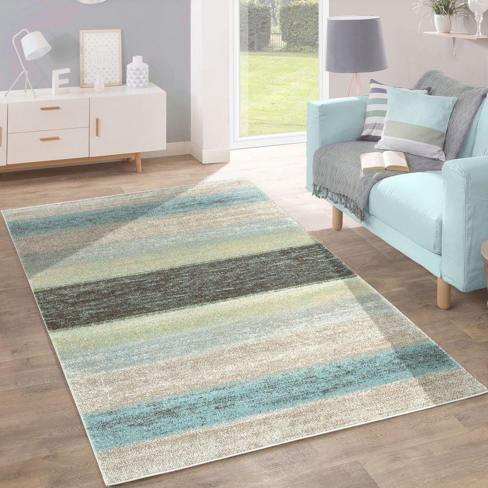 Paco Home Designer Teppich Modern Wohnzimmer Farbverlauf Streifen Muster Pastell Grün Blau Creme, Grösse 200x280 cm