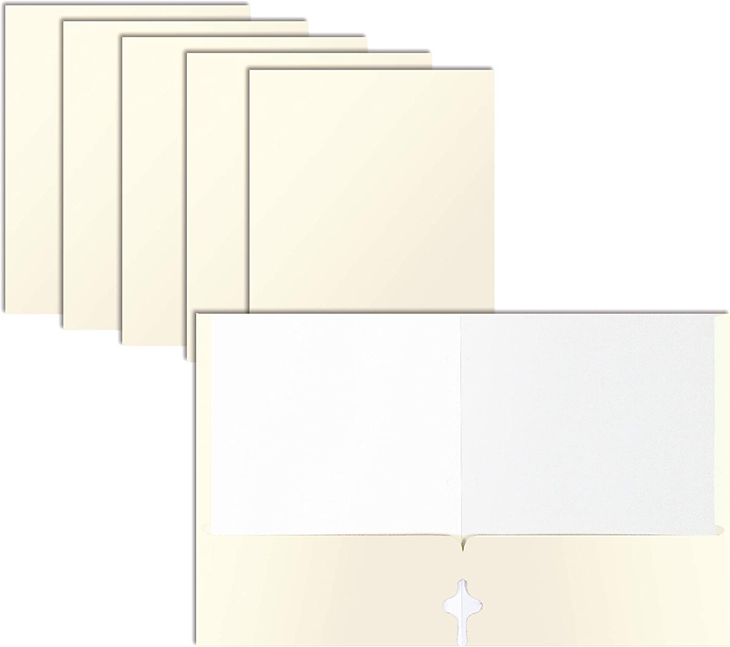 Two Pocket Portfolio Folders, 50-Pack, White, Letter Size Paper Folders, by Better Office Products, 50 Pieces, White