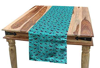 Ambesonne Nursery Table Runner, Cheerful Sharks Anchors Waves Pattern  Underwater, Dining Room Kitchen Rectangular