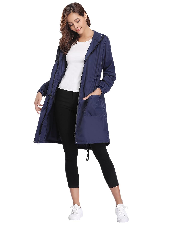 Abollria Rain Jacket Women Waterproof with Hood Lightweight Active Outdoor Raincoat Windbreaker