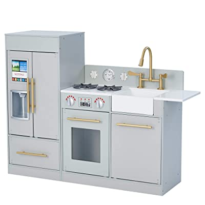 Teamson Kids - Urban Luxury Play Kitchen with Ice Maker - Grey / Brass: Toys & Games