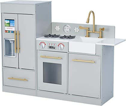 Teamson Kids - Chelsea Modern Wooden Kids Play Kitchen | Toddler Pretend  Play Set with Working Ice Maker and Removable Sink - Silver Grey