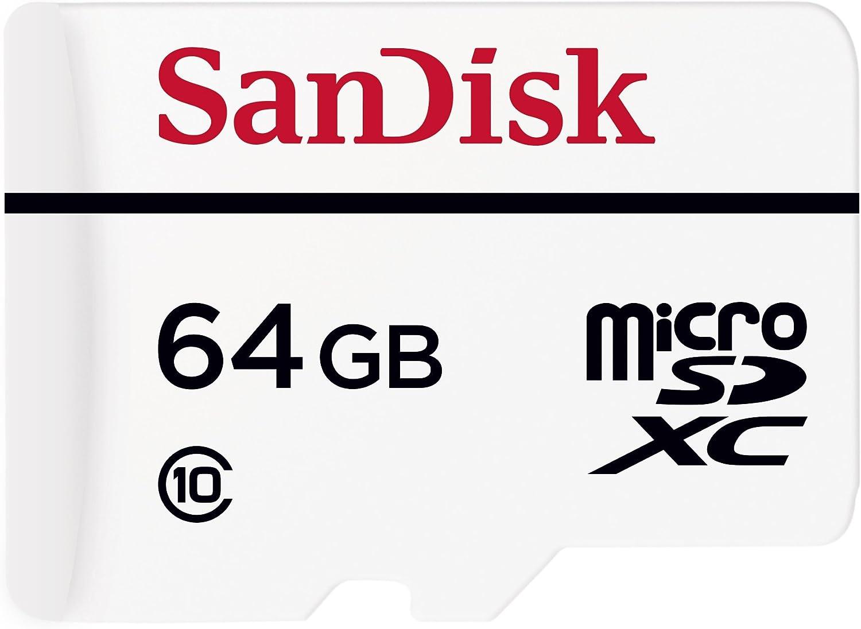 Carte Mémoire microSDXC avec adaptateur SD SanDisk Haute Endurance pour surveillance vidéo en Full HD jusquà 10.000 heures - 64 Go Classe 10 (SDSDQQ-064G-G46A)