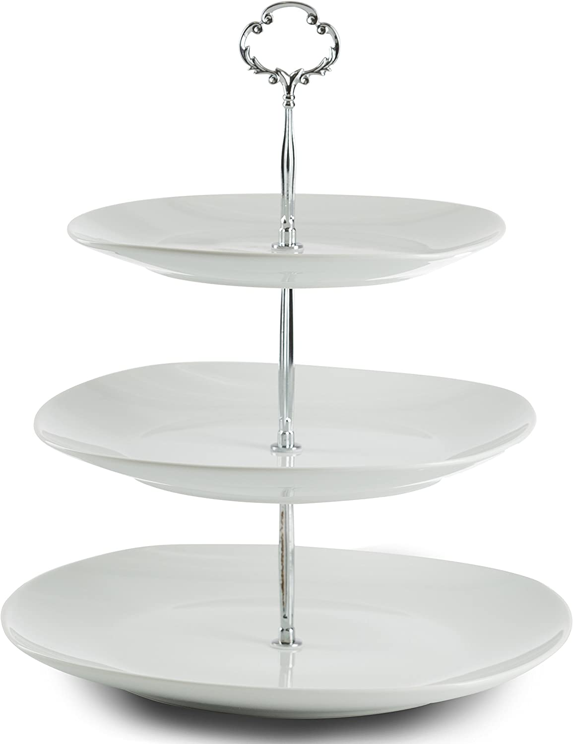 Klikel 3 Tiered Serving Stand - Serving Tray For Parties - Square Platter For Cupcakes Fruits Dessert or Tea - Cake Pop Stand And Buffet Server