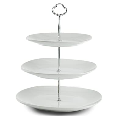 Klikel 3 Tier Square Serving Tray Platters, Appetizer or Dessert Cupcakes And Cake Stand - Centerpiece For Weddings, Tea Party, Holiday Dinners, or Birthday Parties