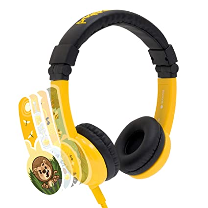 Yellow For Tablets and Computers Built in Headphone Splitter and In Line Mic Explore Foldable Volume Limiting Kids Headphones