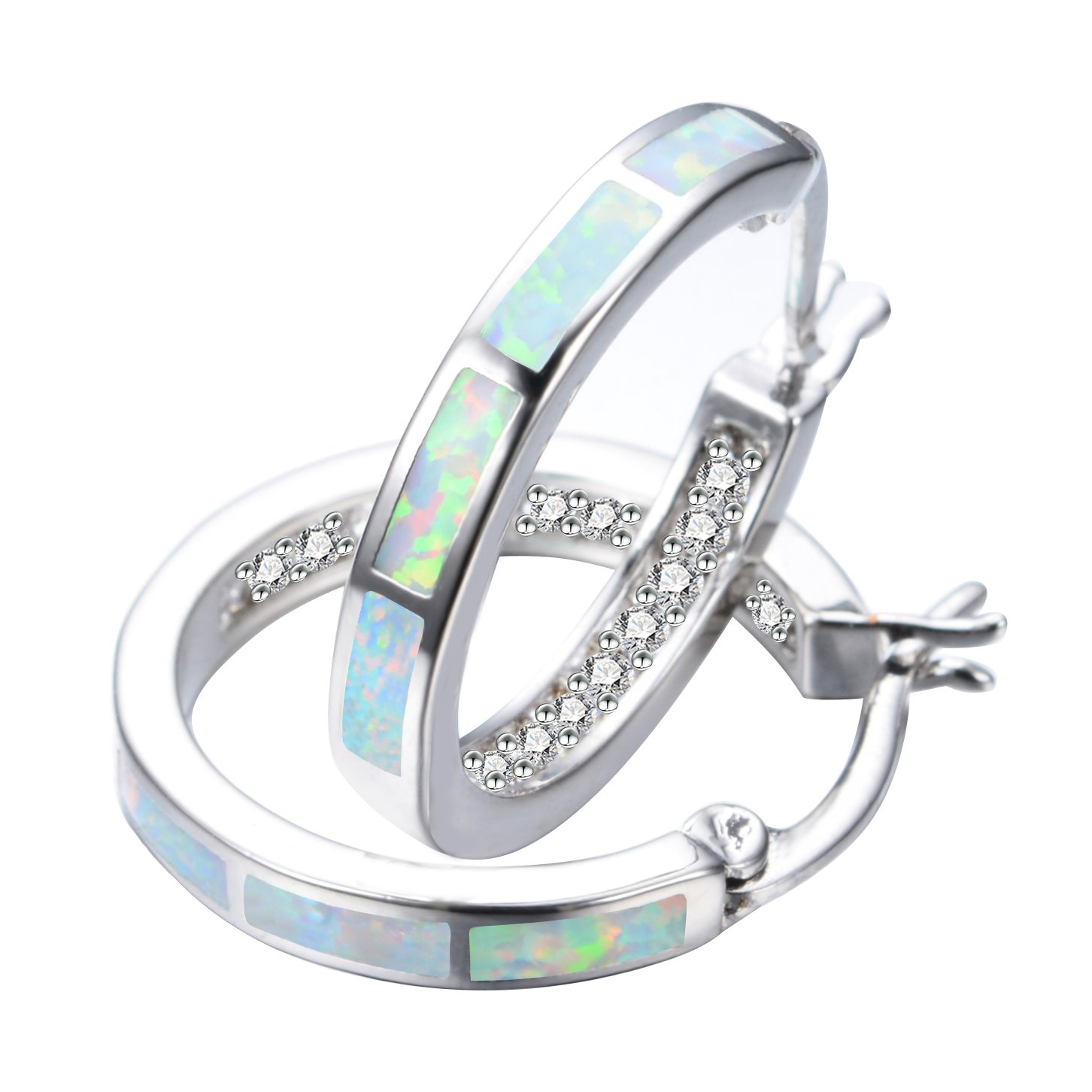 925 Sterling Silver Women's Hoop Earring,White and Blue Earring For You choose Perfect Match (White, Stone)