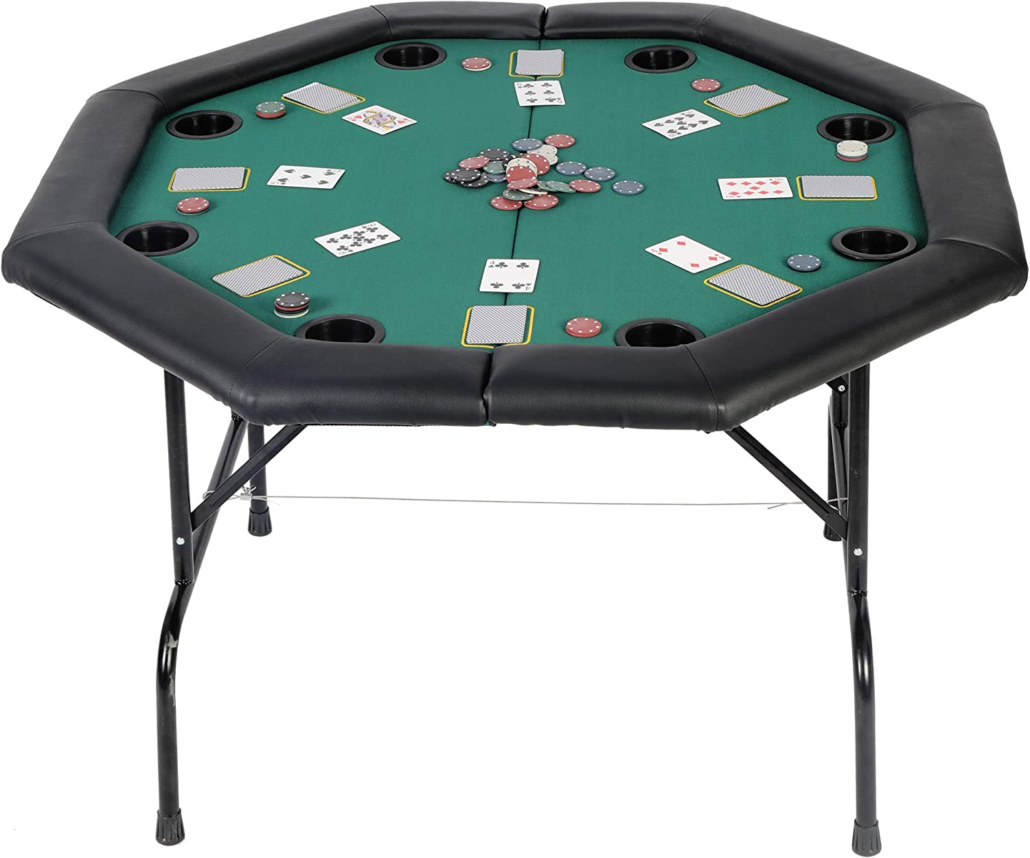KARMAS PRODUCT Poker Table Folding Texas Holdem Casino Leisure Game  Octagonal Table with Cup Holder 9 Player -Green