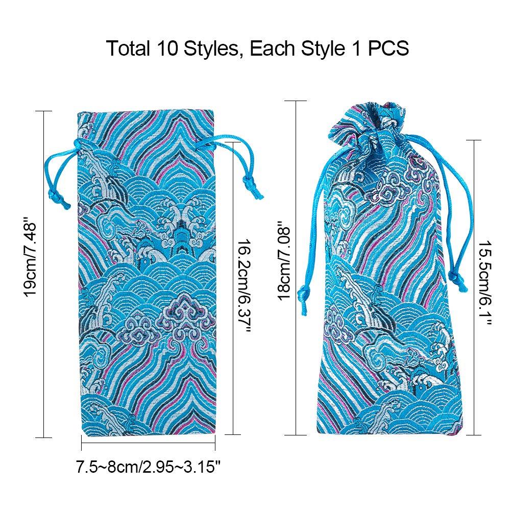 PandaHall Elite 10 Styles Sachet Pochette en Soie 7.5x18cm Sachet Broderie Rectangle avec Ruban Sac Chinois pour Bijoux Cadeau Parfum