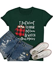 LUKYCILD I Just Want to Drink Hot Cocoa Watch Christmas Movies T Shirt Women Christmas Short Sleeve Cute Funny Shirt Top