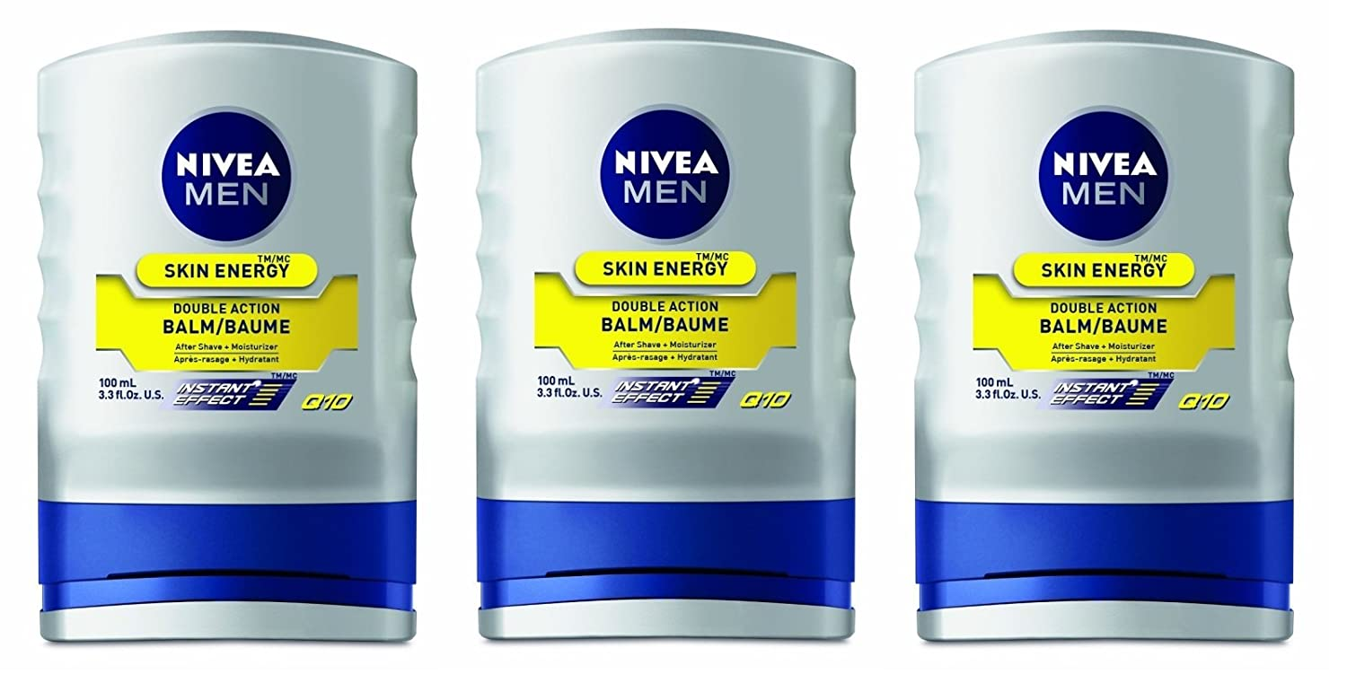 Nivea for Men Energy, Double Action Balm 3.30 oz (Pack of 3) + FREE Curad Dazzle Bandages 25 Ct