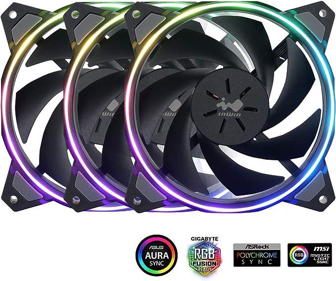 IN-WIN InWin Sirius Loop Direccionable RGB Triple Fan Kit 120mm de Alto Rendimiento refrigeración de la Carcasa del computadora Ventilador de refrigeración, Pack Triple, Negro: Amazon.com.mx: Electrónicos