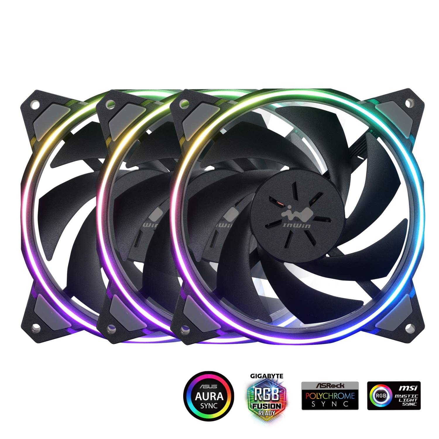 InWin Sirius Loop Addressable RGB Triple Fan Kit 120mm High Performance Cooling Computer Case Fan Cooling by IN WIN