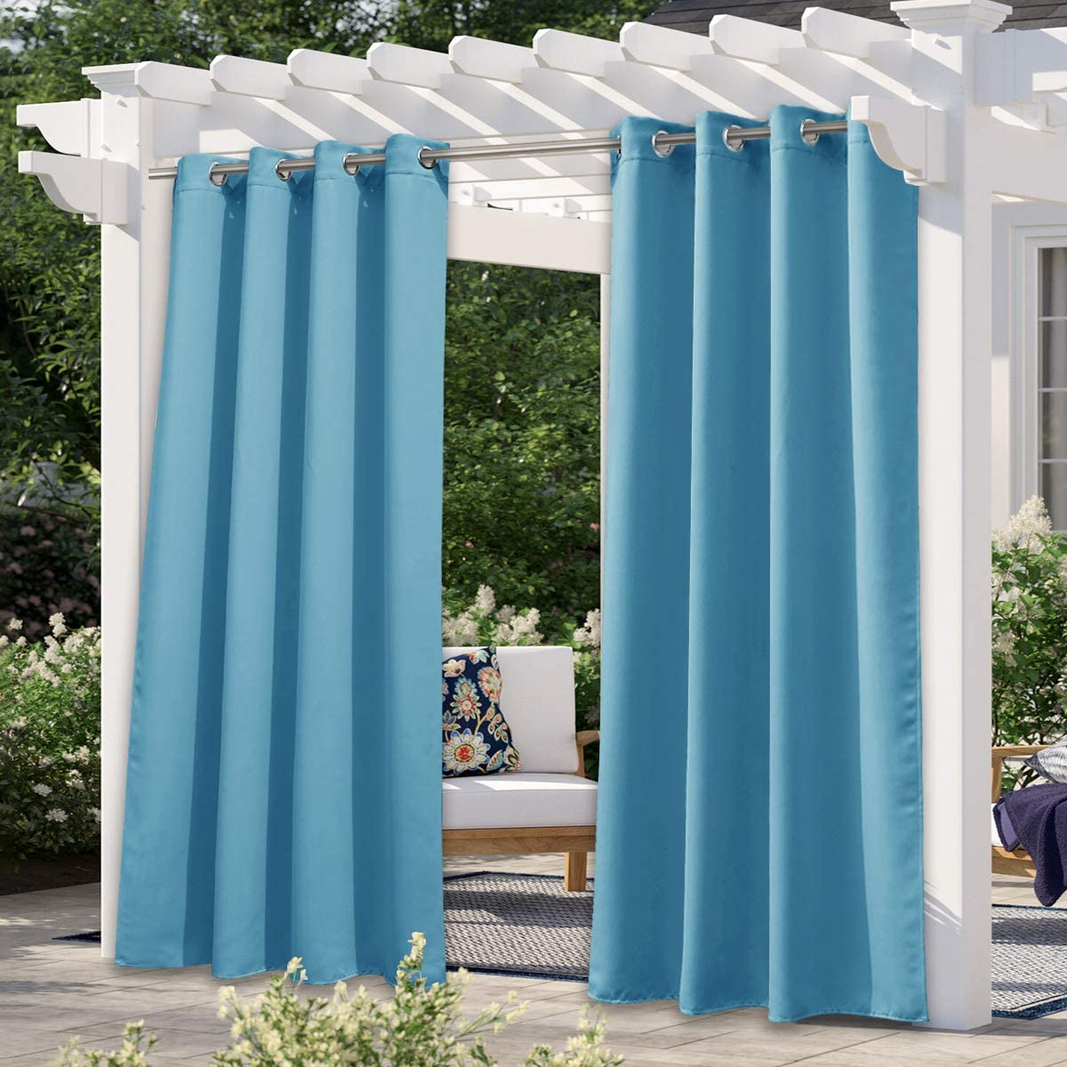 NICETOWN Outdoor Curtain for Patio Waterproof, Energy Saving Thermal Insulated Stainless Steel Grommet Sunlight Block Privacy Protect for Pool, 1 Piece, 52 Inch by 108 Inch, Teal Blue