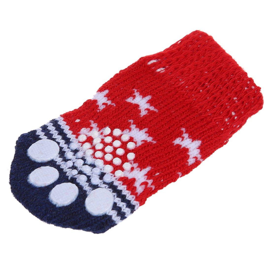 Calcetines para perro mascota de impresion de pata con fondo antideslizante Aprox sin estirar 2,7 pulgadas de largo x 1,5 pulgadas de ancho R TOOGOO